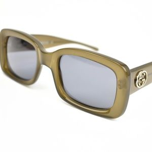 "GUCCI: Olive Brown & ""GG"" Logo Sunglasses (z)"